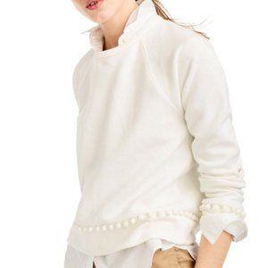 JCREW Cream / Ivory PomPom Pull over Sweatshirt